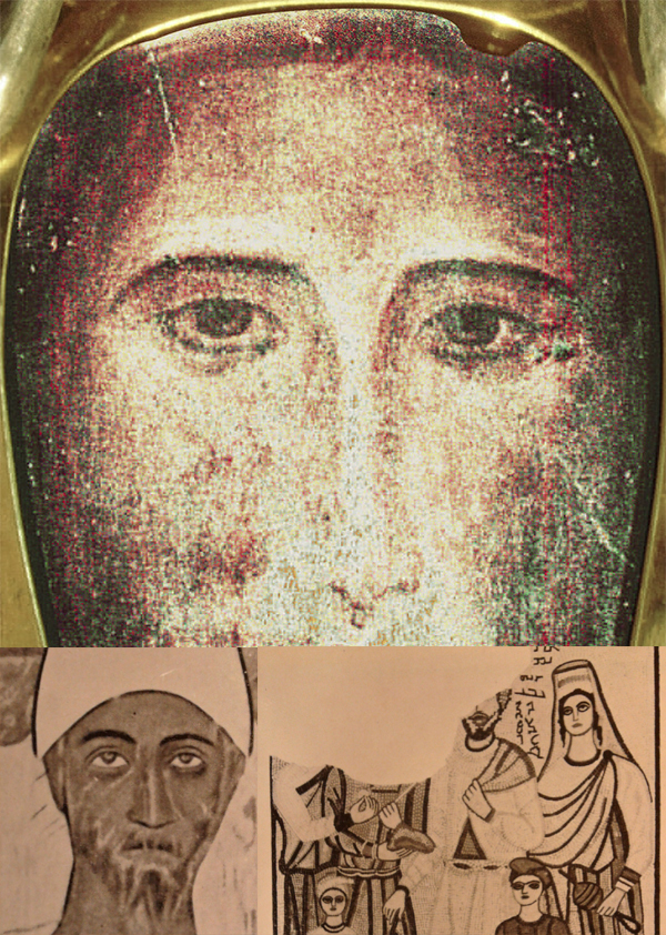 Mandylion di Edessa, mosaico del tripode di Edessa, orante di Dura Europos